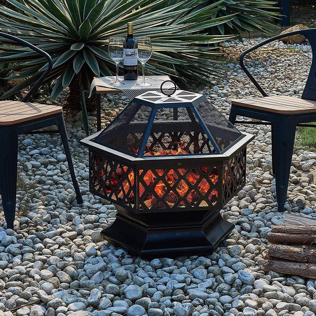 Estufa de exterior terraza para Patio, Mesa de Chimenea de leña